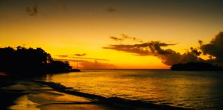 A golden sunset in St. Lucia